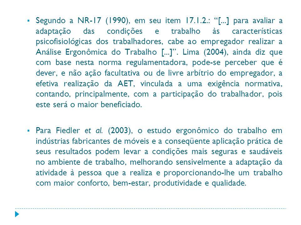 Segundo a NR-17 (1990), em seu item 17. 1. 2. : [